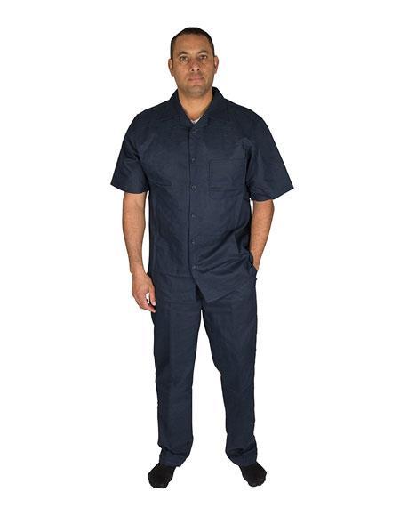 Mens Button Closure 2 Piece 100% Linen Short Sleeve Dark Navy Shirt