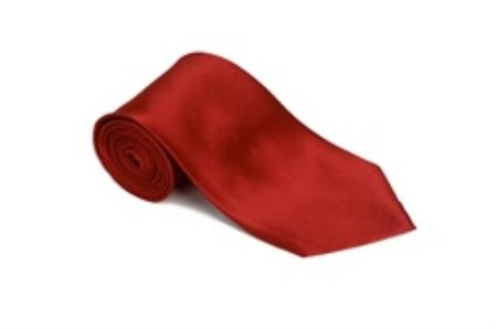 SKU#CU866 Lipstickred 100% Silk Solid Necktie With Handkerchief