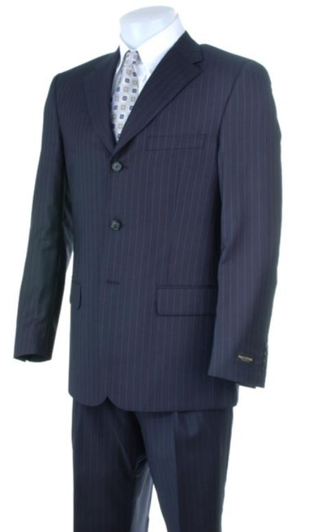 SKU# S32 Liquid Navy Blue Pisntripe 3 Buttons Super 150s Wool premier quality italian fabric Wool Suits
