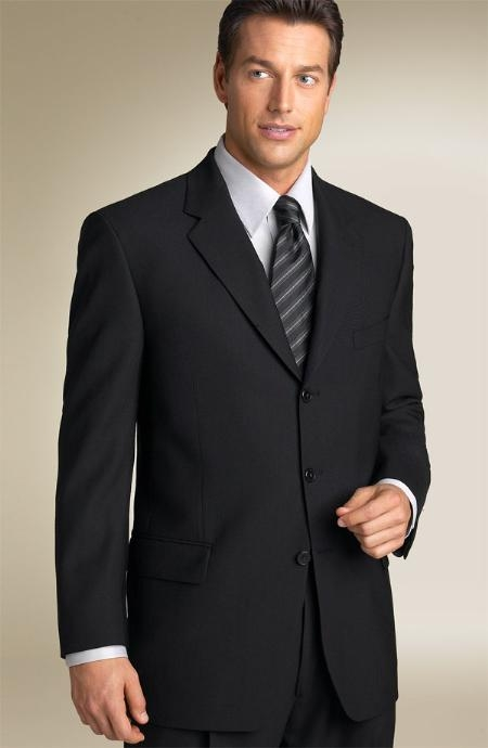 SKU#MANA_03 Liquid Solid Jet Black Mens Suits Super 150s premier quality italian fabric Suit Side Vented