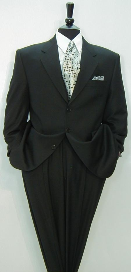 SKU# SNV693  St2 Liquid Black Mens Double Vent Suits premier quality italian fabric Super 150s Wool  $275
