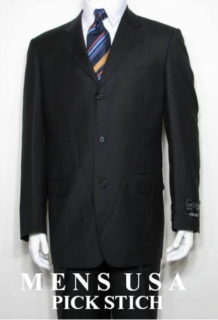 SKU#PB3 Liquid Jet Black 3 Button Super 150s 100% Wool Developed by NASA $129