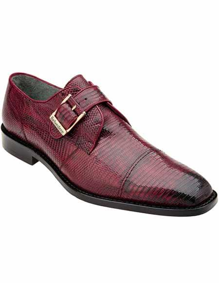 Belvedere Mens Genuine Lizard Skin Burgundy ~ Wine ~ Maroon Color Monk Strap Style Leather Shoes