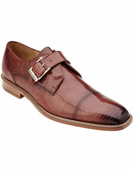 Buy SM2371 Belvedere Men's Peanut/Tan Genuine Lizard Skin Leather Monk Strap Style Shoes