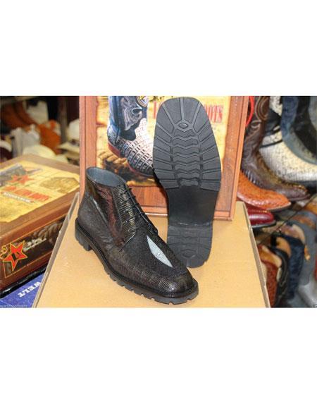 Los Altos Mens Genuine Lizard Stingray Black Ankle Handmade Boot