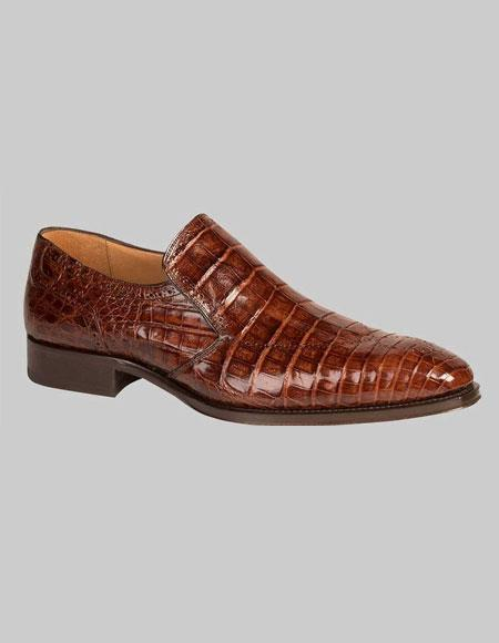 Buy GD343 Men's Mezlan Loafers Brandy Crocodile Skin Shoes Authentic Mezlan Brand