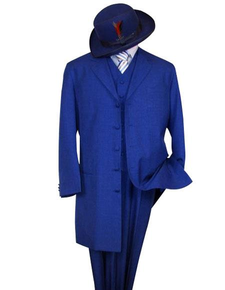 Classic Long Royal Blue Fashion Zoot 3 - Three Piece Dress Suits for Men (Wholesale Price available)