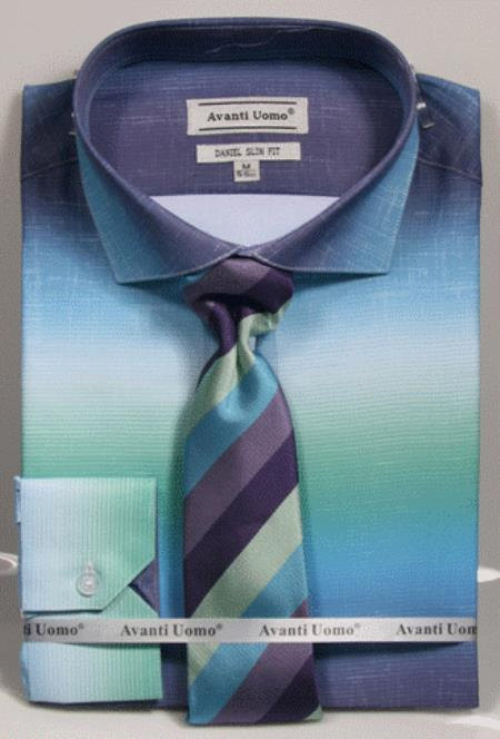 Aqua Colorful Men's Dress Shirt