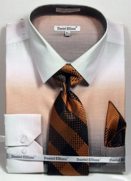 colorful Beige Men's Dress Shirt
