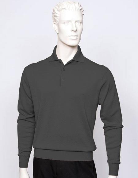 Tulliano Men's black long sleeve silk/cotton fine gauge knitwear