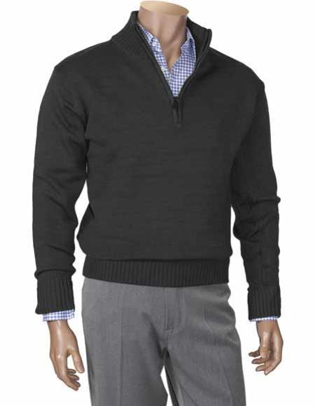 Buy SM2727 Men's Houndstooth Zippered Mock Neck Long Sleeve Black Sweater