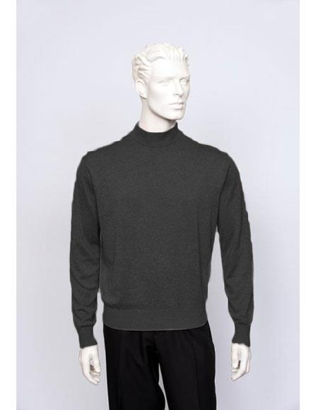 Mens Black Long Sleeve Mock Neck Fine Gauge Knit Sweater set Available in Big And Tall Sizes