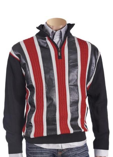 Men's PU Trimmed Black Cable Design Half Zipper Sweater