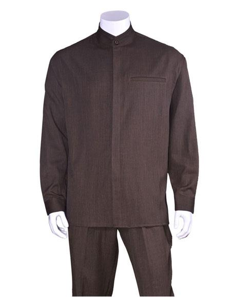 Mens Long Sleeve Brown Mandarin / Banded Collar Casual Casual Two Piece Walking Outfit For Sale Pant Sets Suit