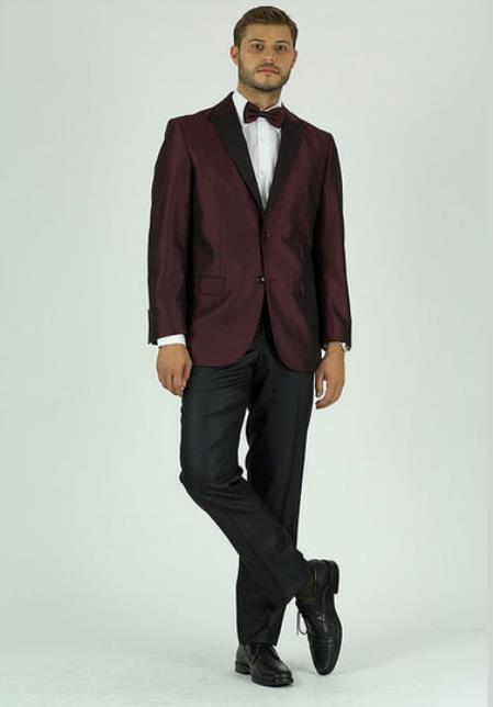Men's  2 Button Classic Fit Burgundy ~ Wine ~ Maroon Color Peak Lapel Jacket