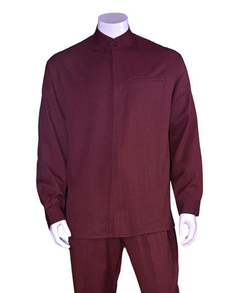 Mens Long Sleeve Mandarin / Banded Collar Burgundy ~ Wine ~ Maroon Color Casual Casual Two Piece Walking Outfit For Sale Pant Sets Suit