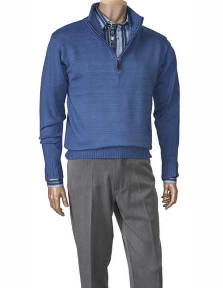 Mens Cobalt Zippered Mock Neck Long Sleeve houndstooth checkered Sweater Available in Big And Tall Sizes