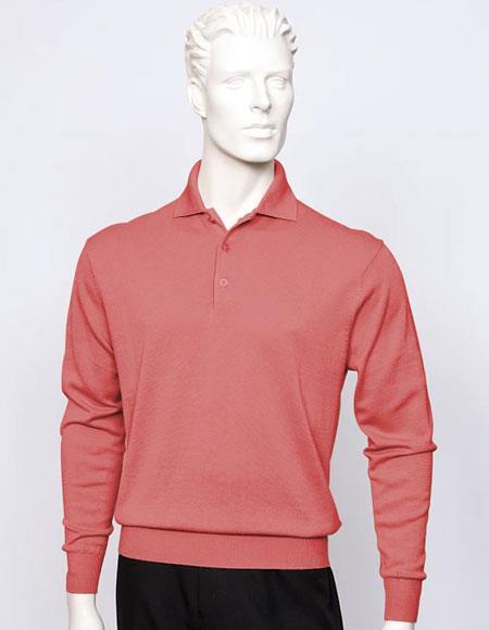 Tulliano mens long sleeve silk/cotton fine gauge knitwear Salmon ~ Coral color