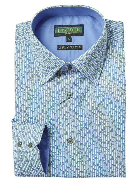 Mens Printed Long Sleeve Light Blue Cotton Shirt With Contrast Trimming