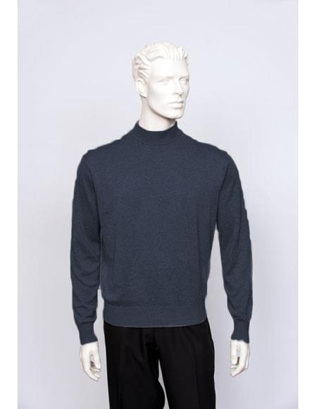Mens Navy Long Sleeve Mock Neck Fine Gauge Knit Sweater set Available in Big And Tall Sizes