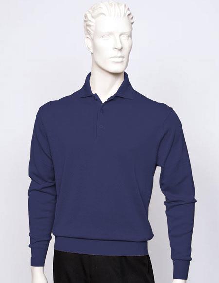 Tulliano Men's long sleeve Navy silk/cotton fine gauge knitwear