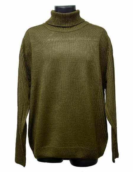 Mens Acrylic Knit Mock Neck Olive Long Sleeve Turtleneck Sweater set Suit Available in Big And Tall Sizes