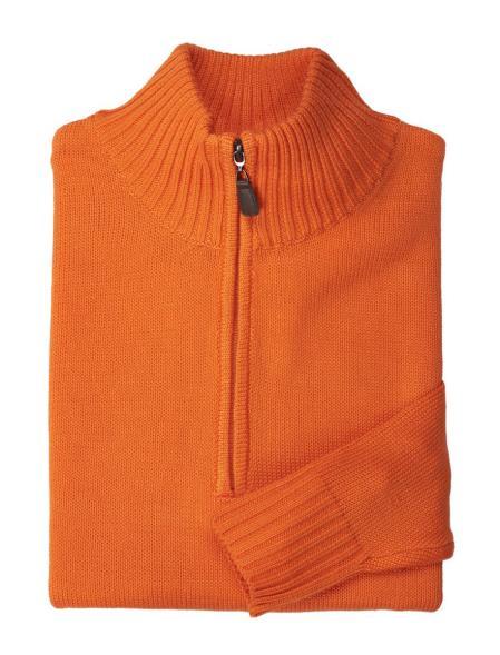 Buy SM4628 Orange Men's Half-Zip Style Acrylic Mock Neck Sweater
