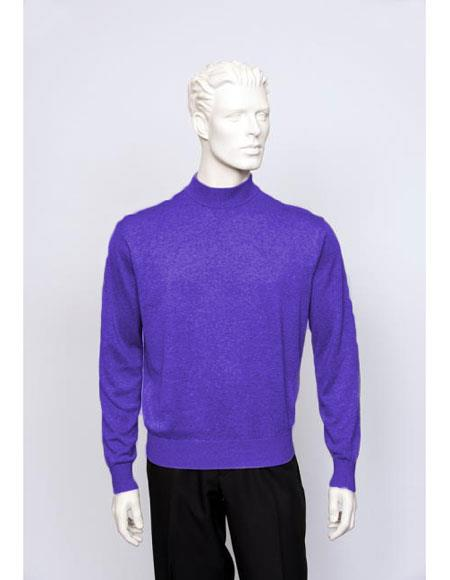 Buy CH1607 Men's TULLIANO Solid Silk Blend Brighton Mens Purple Long Sleeve Mock Neck Fine Gauge Knit Sweater
