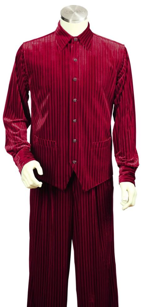 Buy JA112 Mens Ribbed Velvet Long Sleeve Dual Pocket Accents Red Zoot Suit
