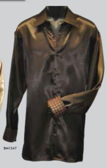 Mens Brown 100% Satin Long Sleeve Shirt Night Club Outfit guys Wear For Men Clothing Fashion