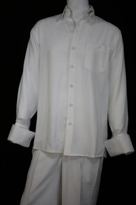 Men's Woven Long Sleeve Button Fastening Casual Two Piece Walking Outfit For Sale Pant Sets Suit White Solid