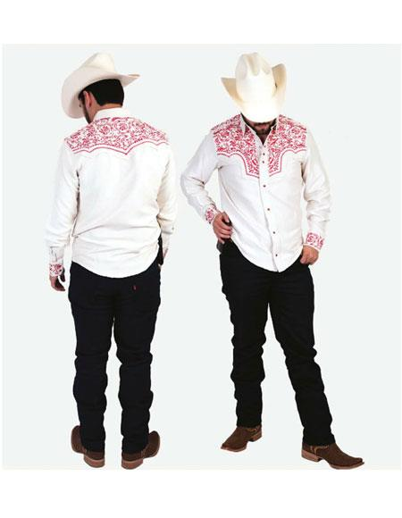 Men's Long Sleeves Floral Pattern High Collar Cowboy Shirt Blanco