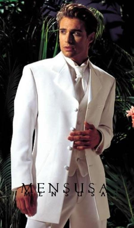 "SKU#MUY75GA Longer coat 4 Button White Notch Tuxedo -38"" 4 Button \""Long Coat Tuxedo\""-"