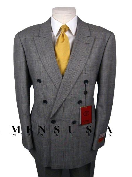 SKU# Loraino Plad Window Pane Texture Double Breasted Worsted Wool 6 on 1 Button Gray Suit $189
