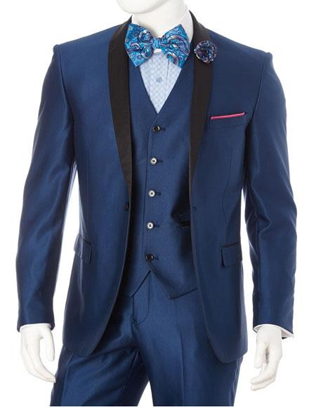 Mens Lorenzo Bruno 1 Button Shawl Lapel Blue Slim Fit Suit