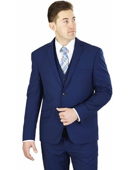 Mens Lorenzo Bruno 3 Piece Cobalt Blue Notch Lapel Side Vents Suit