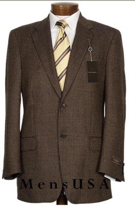 SKU#201542 2 Button Mini Pindots Teakweave Nailhead Salt & Pepper Birdseye Patterned Texture Brown Business Suit