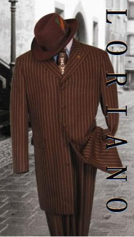 SKU# IDS948 Loriano 34 Inch Brown Pinstripe 4-5 Buttons Vested Wide Leg Pants Side Vested (Longer Jakcet) $189