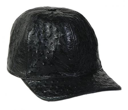SKU#KA1341 Los Altos Black Genuine Ostrich Baseball Hat