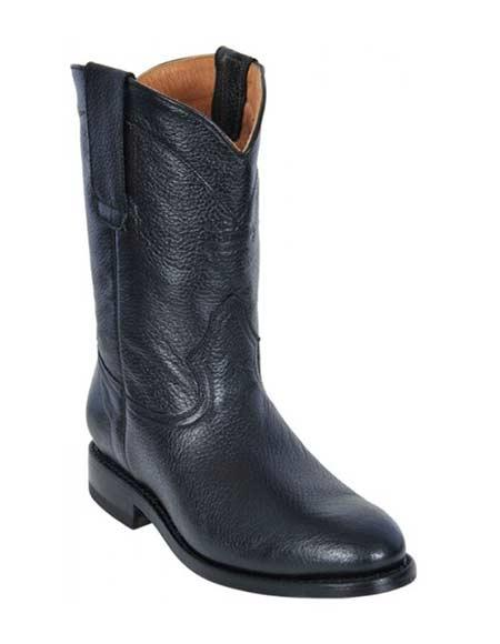 Los Altos Boots Black Men's Genuine Deer Roper Leather With Rubber Sole Boot ~ botines para hombre