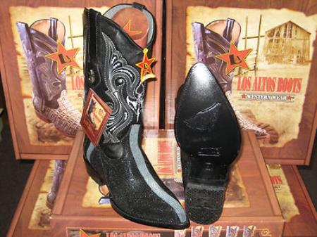 Buy KF784 Los Altos Black Genuine Stingray mantarraya skin Rowstone Western Cowboy Boot