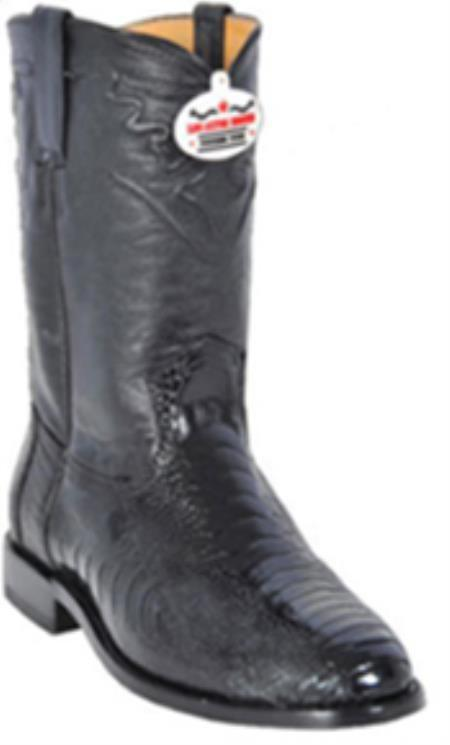 Los Altos Mens Genuine Black Ostrich Leg Western Cowboy Riding Style Boot