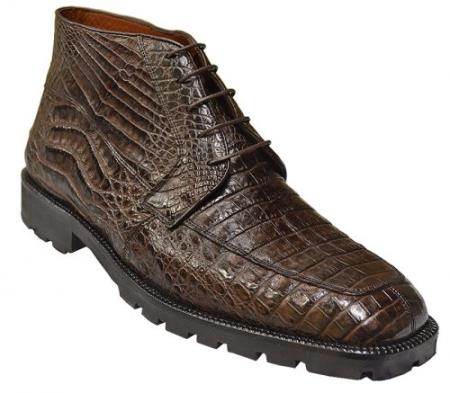 Mens Short Boots Los Altos Boots Brown All-Over Genuine Crocodile ~ World Best Alligator ~ Gator Skin Ankle Boots