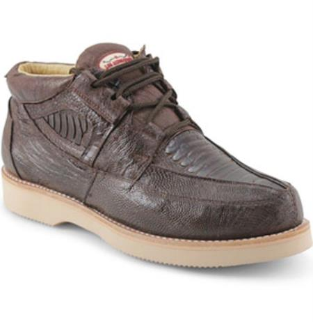 Mens Los Altos Genuine Ostrich Leg Four Eyelet Lacing Brown Shoes