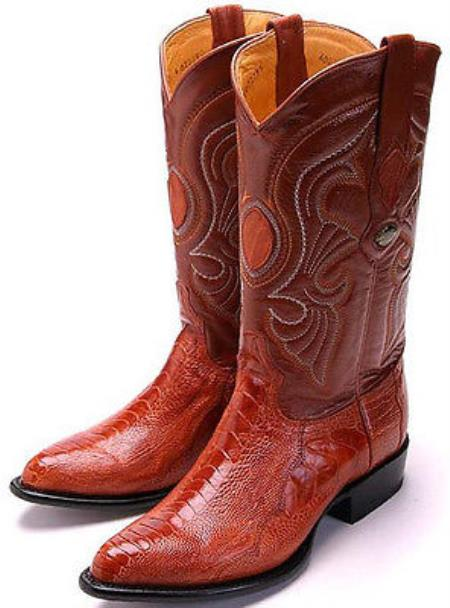 Buy KA5803 New Ostrich Leg Cognac Brown Los Altos Men's Cowboy Boots Western Riding Style