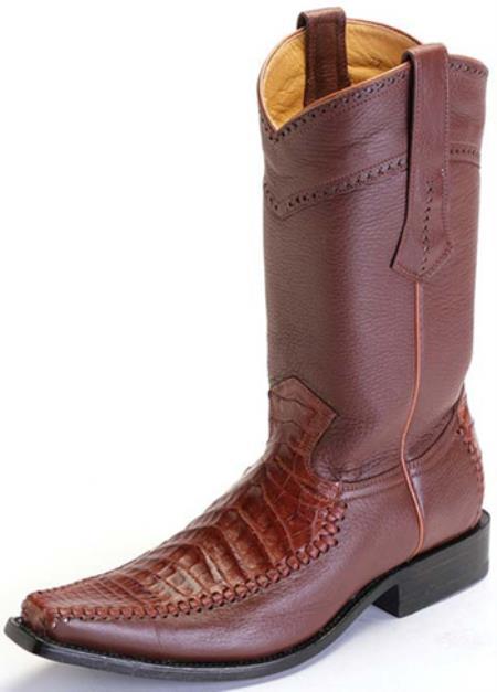 Buy KA9863 caiman ~ World Best Alligator ~ Gator Skin Belly Cognac Brown Vintage Los Altos Men's Cowboy Boots Western Riding