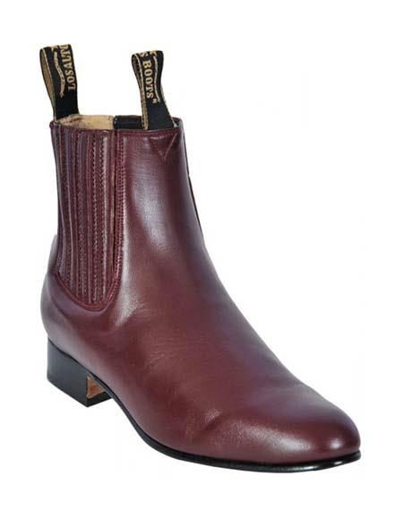 Los Altos Mens Genuine Deer Chelsea Charro Leather Sole Short Boot ~ botines para hombre Burgundy ~ Wine ~ Maroon Color