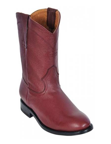 Los Altos Boots Men's Burgundy ~ Wine ~ Maroon Color Genuine Deer Roper Leather Boot ~ botines para hombre With Rubber Sole