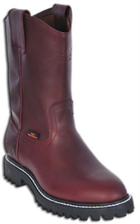Buy KA2887 Mens Work BOOTS Burgundy ~ Maroon ~ Wine Color Round Toe Leather Grasso Los Altos Safety
