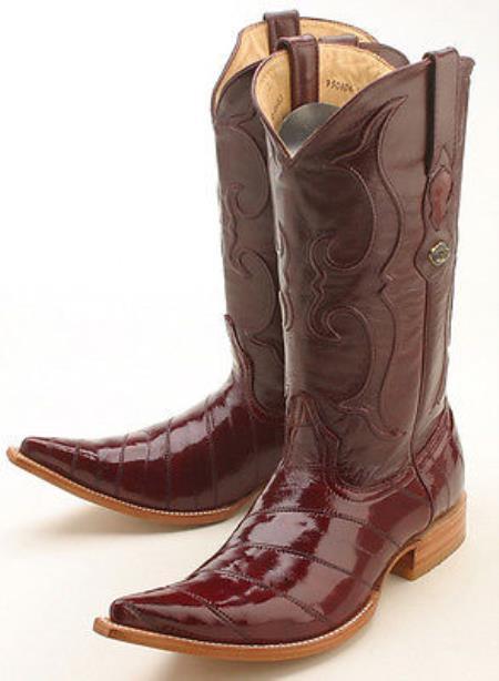 1a7a86a0919 Eel Classy Burgundy ~ Maroon ~ Wine Color Brown Los Altos Men's Cowboy  Boots Western Rider Style